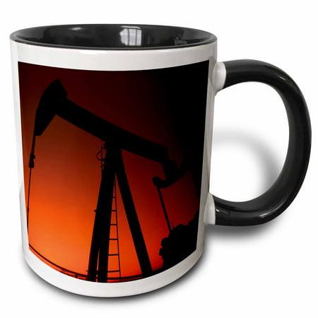 3dRose Industry, Oil rig, Tulsa, Oklahoma - US37 BBA0001 - Bill Bachmann, Two Tone Black Mug, 11oz