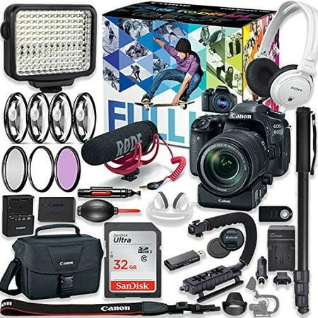 Canon EOS 80D DSLR Camera Premium Video Creator Kit w/18-135mm Lens + PZ-E1 Power Zoom Adapter + Sony Monitor Series Headphones + Video LED Light + 32gb Memory + Monopod + High End Accessory Bundle