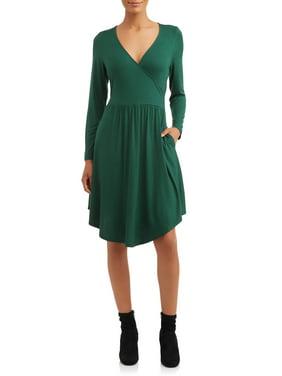 Love Sadie Women's V-Neck Long Sleeve Knit Dress