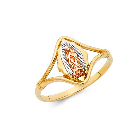 Our Lady Of Guadalupe High Polish Oval Shape 13mm 14k Multi Colored Tri Tone Italian Solid Gold Ring Size 6 Available All Sizes