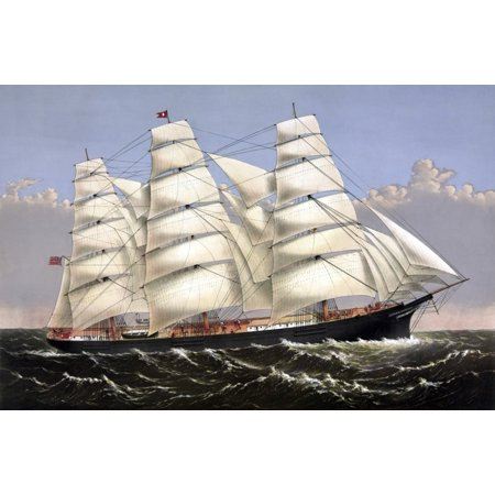 Vintage print of the Clipper ship Three Brothers Canvas Art - John ParrotStocktrek Images (17 x 12)
