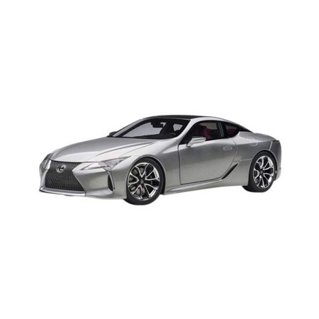 Lexus LC500 Sonic Titanium Silver with Dark Rose Interior and Carbon Top 1/18 Model Car by Autoart