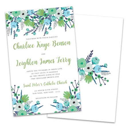 Personalized Blue & Green Florals Wedding Invitations](Floral Wedding Invitations)