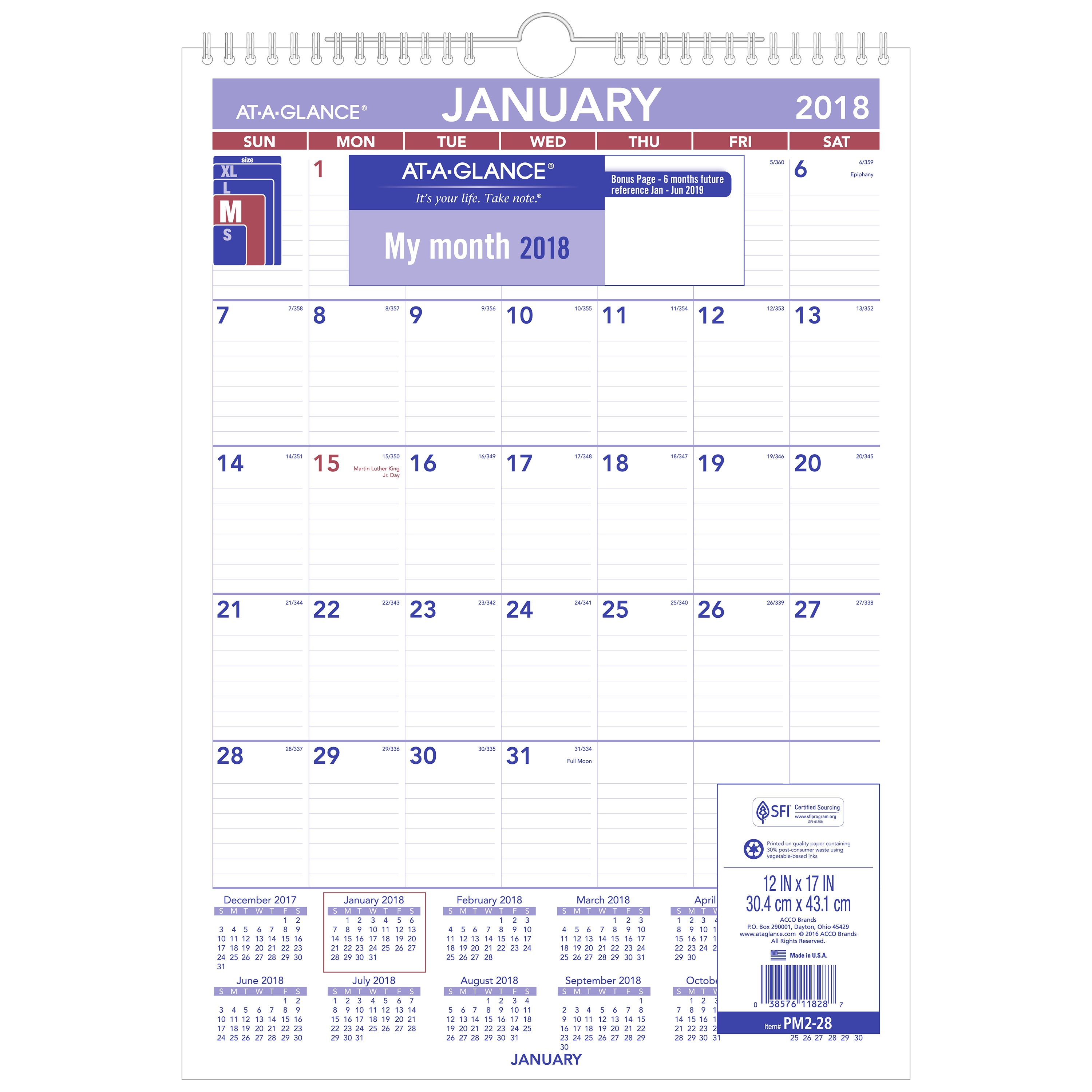 "AT-A-GLANCE Monthly Wall Calendar, 12 Months, July Start, 12"" x 15"", Wirebound (AY7W2819)"