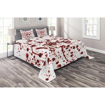 Halloween Bedding Sets Store (Horror Coverlet Set, Splashes of Blood Grunge Style Bloodstain Horror Scary Zombie Halloween Themed Print, Decorative Quilted Bedspread Set with Pillow Shams Included, Red White, by)