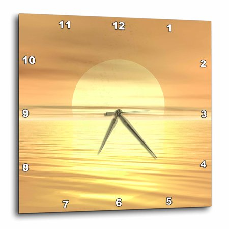 3dRose Big Sunset digital art of a big sunset casting light across the ripples of water - Wall Clock, 10 by 10-inch