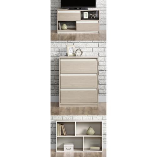 Sauder Square1 Grey Ash Modern Living Room Set - TV Stand | Chest | Organizer