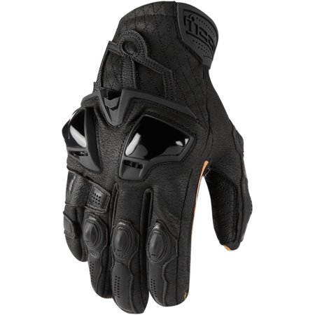 Icon Hypersport Short Mens Leather Gloves Black (Icon Merc Short Motorcycle Glove)