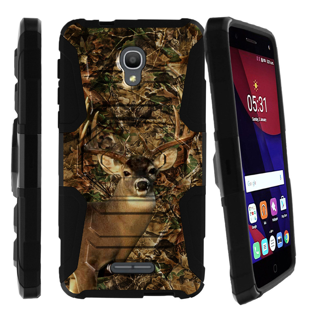 Alcatel Fierce 4 Holster Case | Alcatel Allura Case | Pop 4 + Case [ Armor Reloaded ] Extreme Rugged Protection with Holster and Built In Kickstand - Deer Hunting Camo
