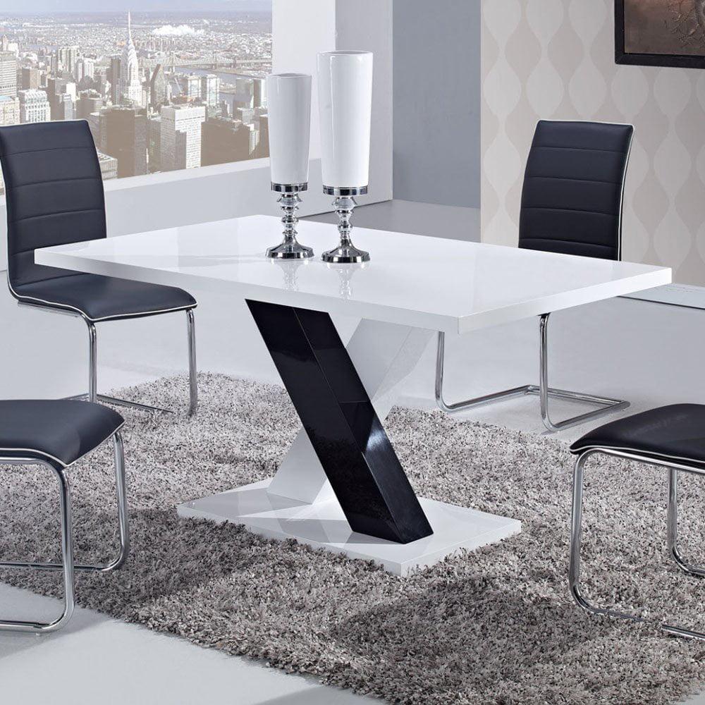 Global USA 490DT Rectangular Dining Table in White & Black