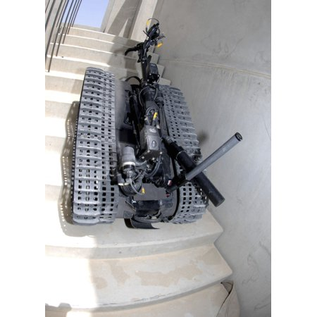 A Talon 3B robot unit climbing a flight of stairs during a training mission in Bahrain Poster Print ()