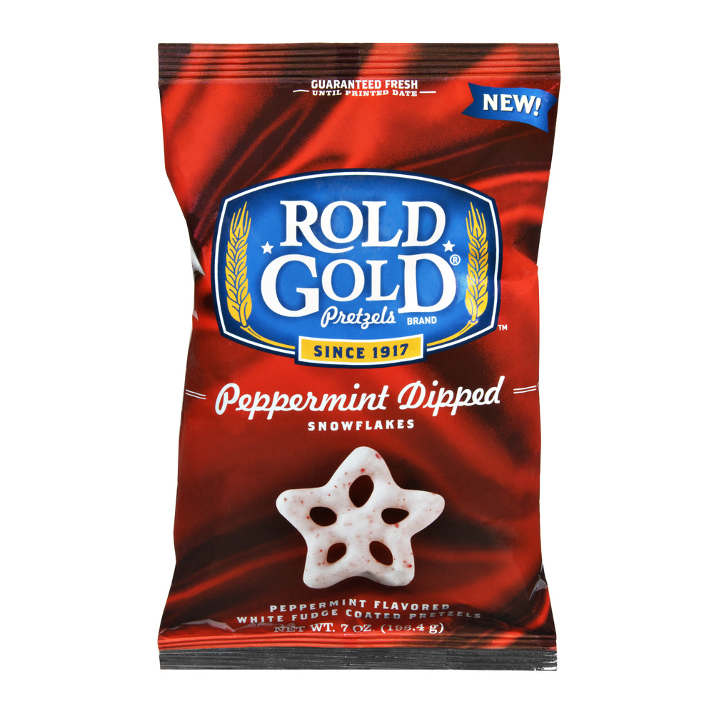 Rold Gold Peppermint Dipped Snowflake Pretzels 7 Ounce Plastic Bag