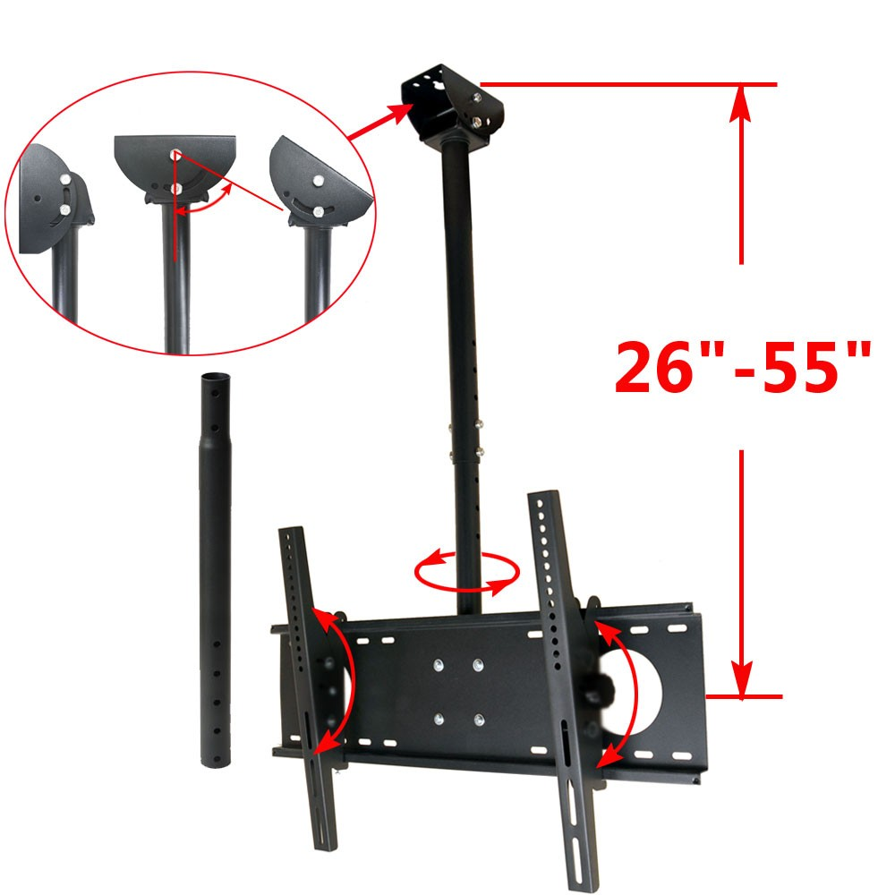 "VideoSecu Tilt Swivel TV Ceiling Mount for most 39-65"" LCD LED Plasma Some LED 70"" Fits Flat or Vaulted Ceiling BWD"