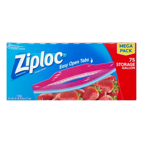 Ziploc Storage Bags, Gallon, 75 Ct