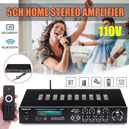 110V 1120W 5CH 4-16Ohm AV Surround Home Amplifier B luetooth 4.0 HIFI Stereo+RC Karaoke Cinema with Integrated Radio Receiver & Remote Control, LED Display, Support FM/AM