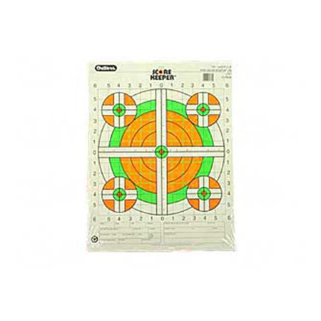 Champion Traps and Targets Fluorescent Orange/Green Bullseye Scorekeeper Target, 100 Yard Rifle Sight-In, 12pk ()