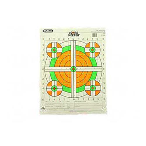 Champion Traps and Targets Fluorescent Orange/Green Bullseye Scorekeeper Target, 100 Yard Rifle Sight-In, 12pk