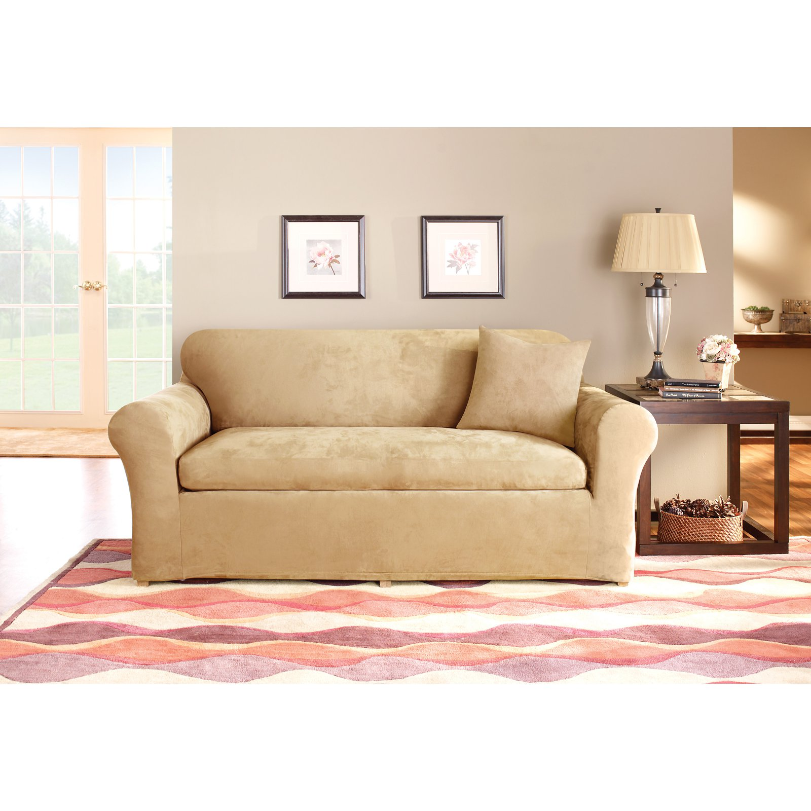 Sure Fit Stretch Suede 3-Piece Sofa Slipcover