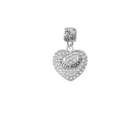 Silvertone Faith Rocks on AB Crystal Heart - Paw Print Charm -