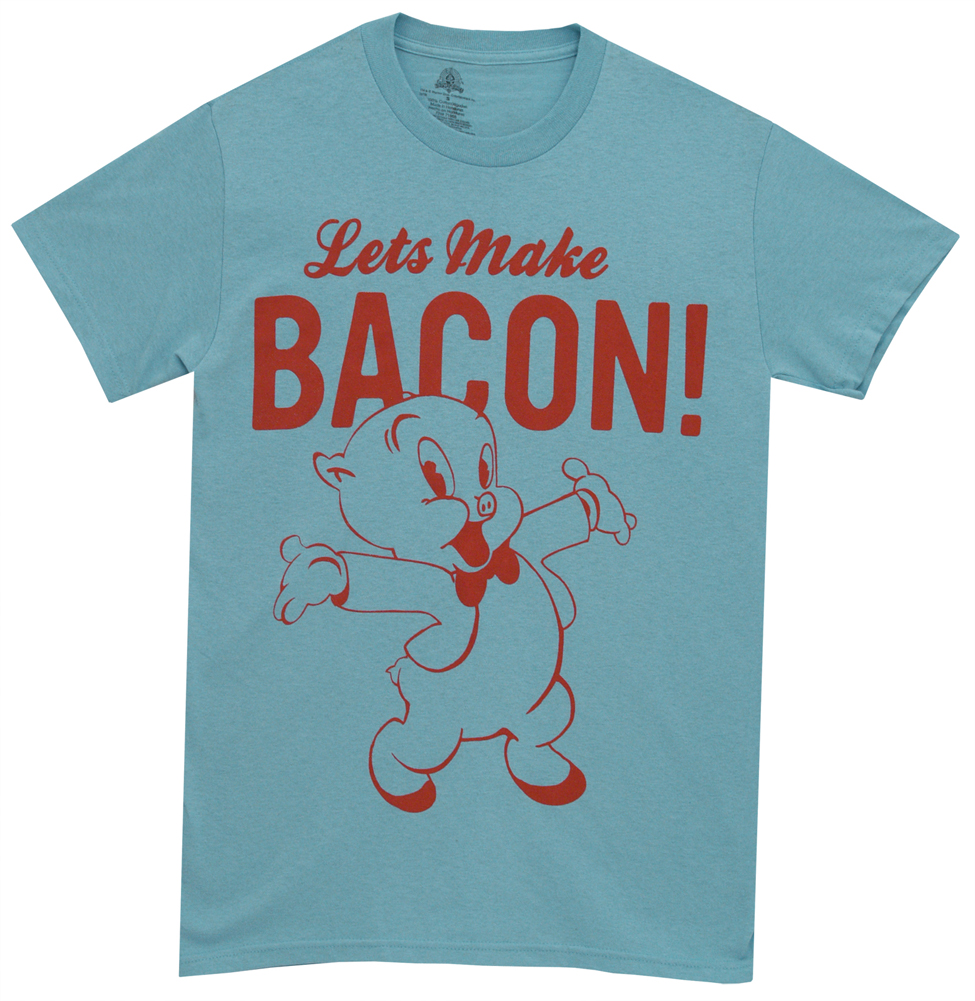 Porky Pig Let's Make Bacon Looney Tunes WB Cartoon Adult T-Shirt Tee