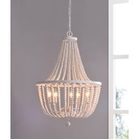 Dumas White with Distressed Wood Beads 5 Light Chandelier