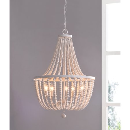 Dumas White with Distressed Wood Beads 5 Light Chandelier ()