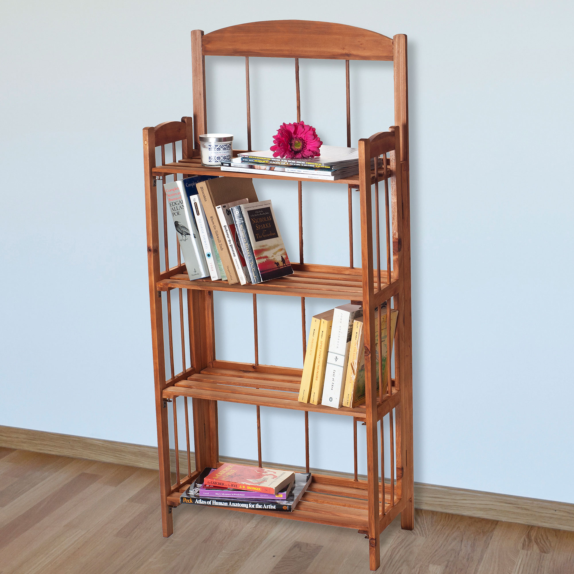 Lavish Home 4-Shelf Light Solid Wood Bookcase