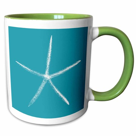 3dRose Pretty White Starfish on Teal Background - Two Tone Green Mug, 11-ounce