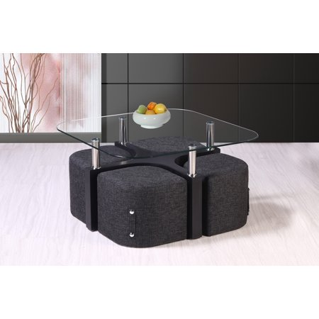 Best Quality Furniture Coffee Table includes 4 Stools and top clear glass CT81 ()