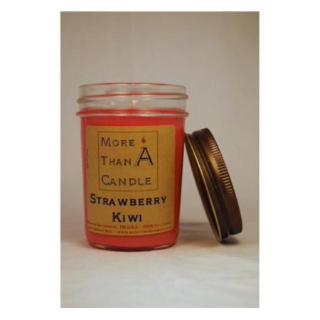More Than A Candle SBK8J 8 oz Jelly Jar Soy Candle, Strawberry Kiwi