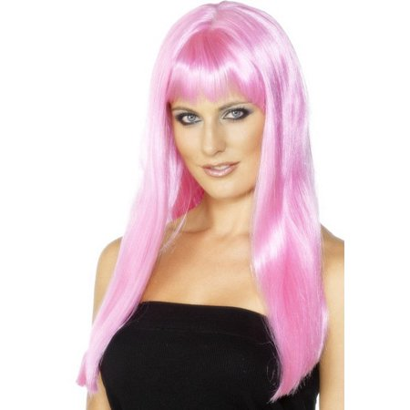 Smiffys Sexy Womens Long Pink Cosplay Anime Halloween Costume Wig with Bangs