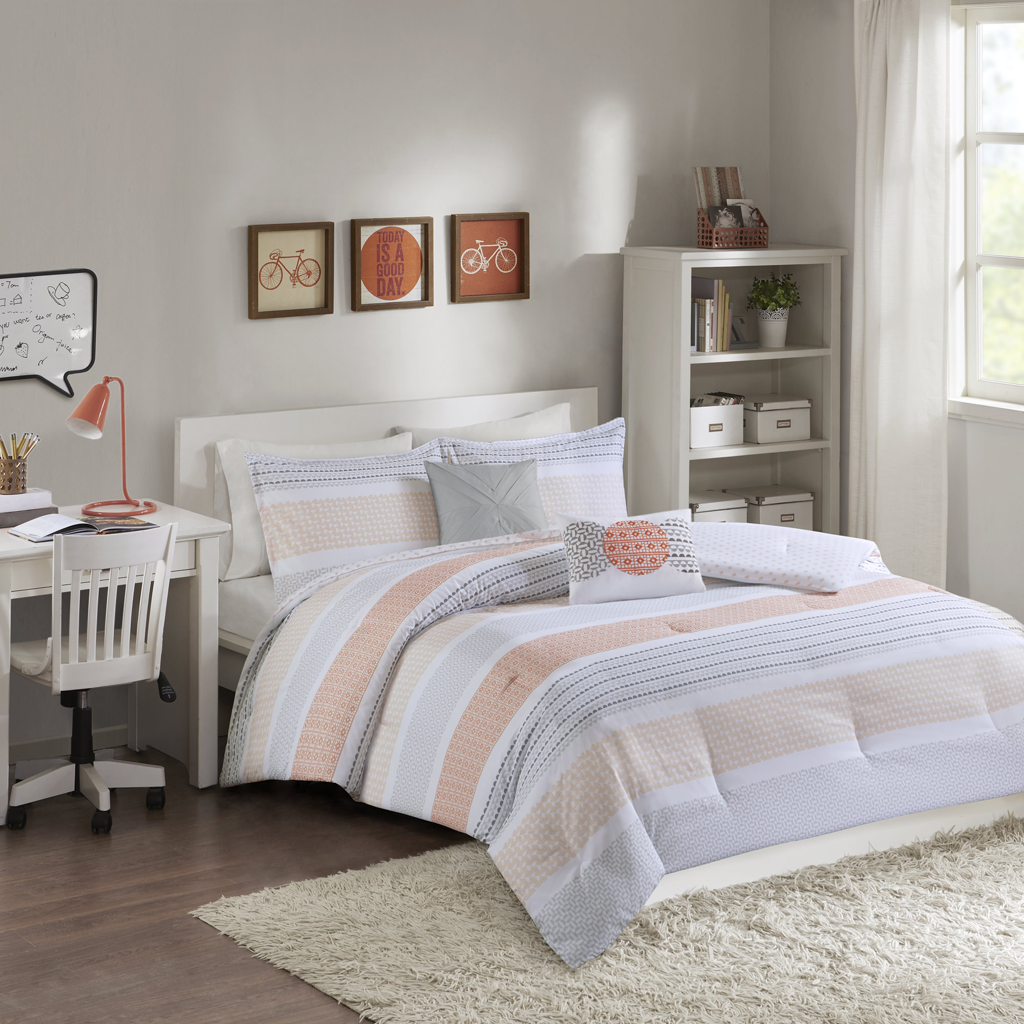 Home Essence Apartment Reed Printed Reversible Comforter Set