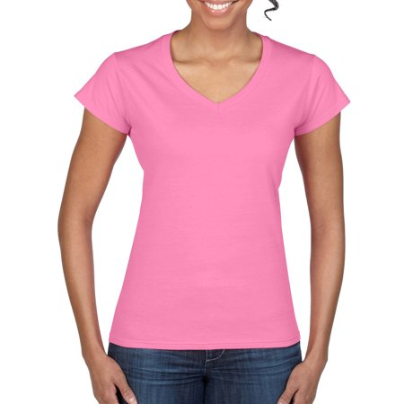 Fitted Cowl - Gildan Softstyle Women's Short Sleeve Fitted V-Neck T-Shirt