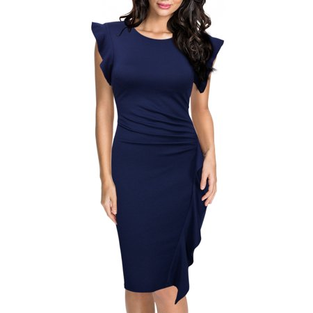MIUSOL Women's Retro Ruffles Cap Sleeve Slim Business Pencil Cocktail Dresses for Women (Navy Blue - Retro Cocktail Dresses