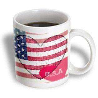 3dRose Heart Love USA Flag Art Patriotic 4th of July, Ceramic Mug, 11-ounce