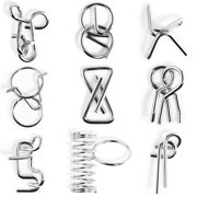 9Pcs Metal Wire Puzzles Brain Teaser Classical Intellectual Toy(Universal Version) - Pattern-B
