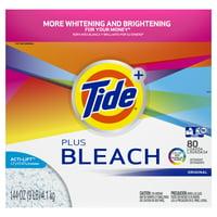 Tide Plus Bleach 80 Loads, Powder Laundry Detergent, 144 oz