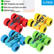 NK 4 Pack Friction Powered Car Toys, Push and Go Toy Cars for Toddlers, Double Side Baby Car, Gifts for 3 4 5 6 7 8 Year Old Boy, Birthday Party Favors for Kids, 360 Rotation, Flips Mini Kids Cars