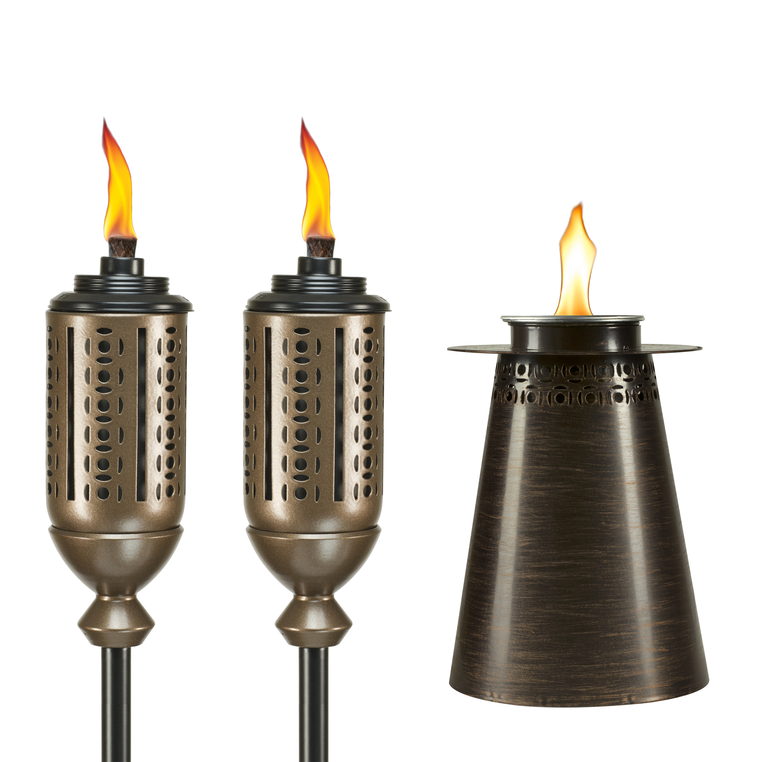 TIKI® Brand 65-Inch Cabos Metal Torch Copper 2-pack and Fire Pillar Clean Burn