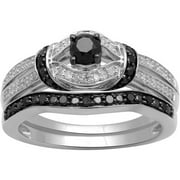 1/2ct. T.W. Black and White Diamond Sterling Silver Bridal Set