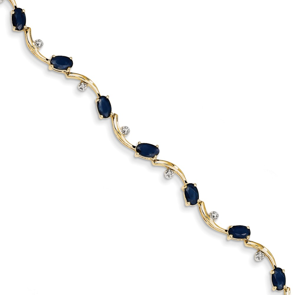 """Solid 14k Yellow Gold Diamond and Simulated Sapphire Oval Bracelet 7"""" with Secure Lobster Lock Clasp (6mm) by AA Jewels"""