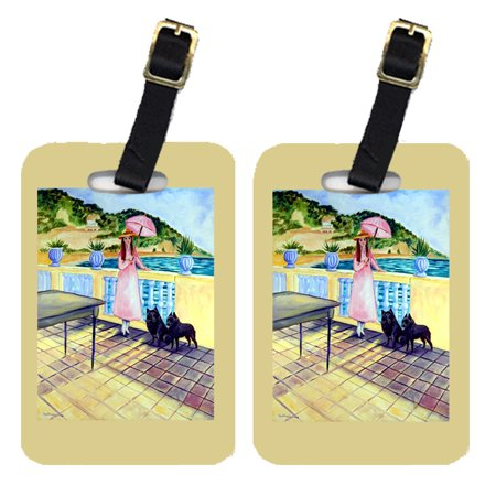 Lady with her Schipperke Luggage Tags Pair of 2