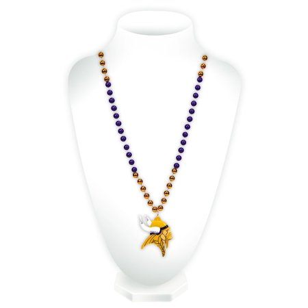 9474654406 Minnesota Vikings Classic Mardi Gras Beads Necklace With Medallion