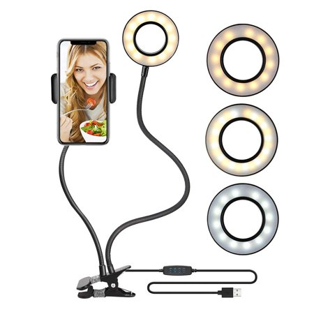 Selfie Ring Light Cell Phone Holder Stand Clip for Live Stream Makeup Video