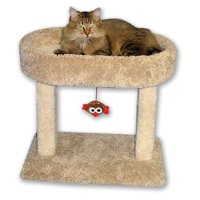 """Beatrise 21"""" x 13"""" x 21"""" Carpeted Kitty Cradle Cat Condo Bed and Scratching Post"""