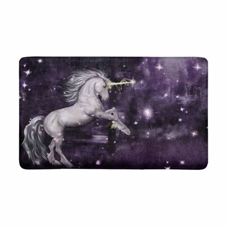 MKHERT Unicorn in a Purple Magical Forest at Night Doormat Rug Home Decor Floor Mat Bath Mat 30x18 inch - Unicorn In Forest
