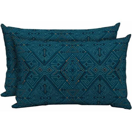 Better Homes & Gardens Outdoor 20 in W x 12 in D x 4.5 in H Patio Lumbar Toss Pillow, Blue Southwest Diamonds, Set of Two ()
