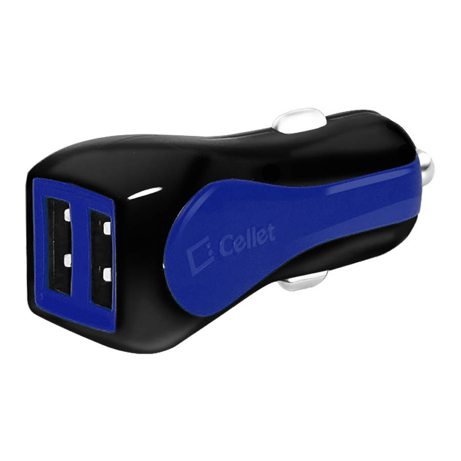 Cellet Prism RapidCharge 12W 2.4A Dual USB Car Charger for Android and Apple Devices, Blue