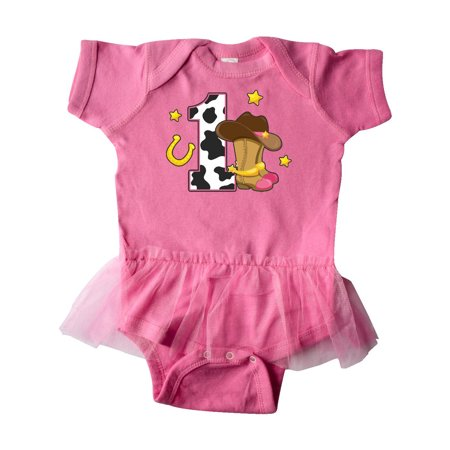 Cowgirl Birthday One Years Old With Boots Infant Tutu Bodysuit
