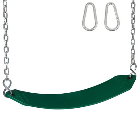 Residential Seat - Swing Set Stuff Inc. Residential Belt Seat with Chains and Hooks (Green)